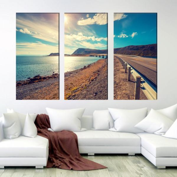 Multicanvas Peisaj cu Drum pe Coasta BES831