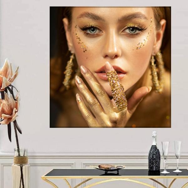 Tablou Canvas Femeie cu Make Up Auriu BGM88