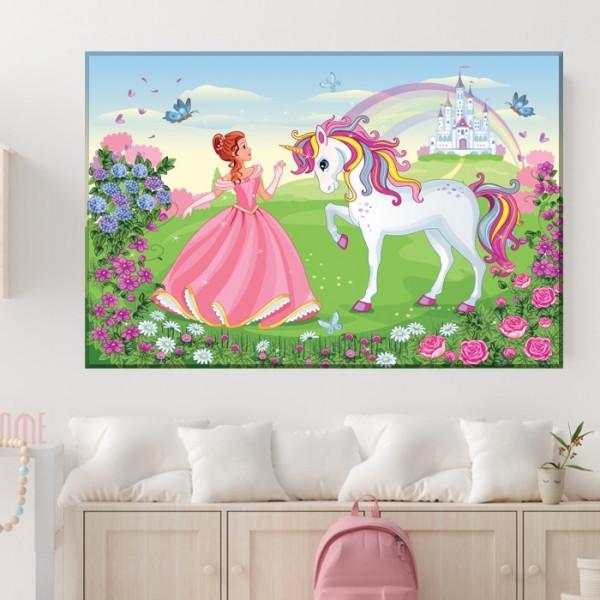 Tablou Canvas Printesa cu Calut Unicorn LOL18