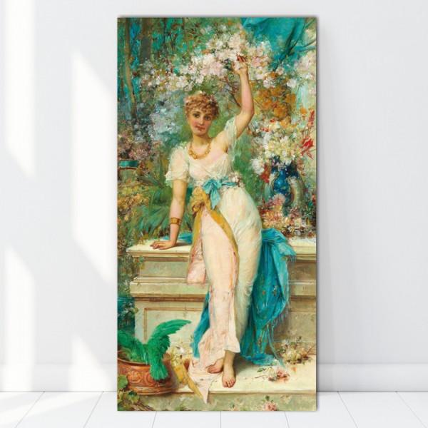 Tablou Hans Zatzka - Doamna Printre Flori RHZ11