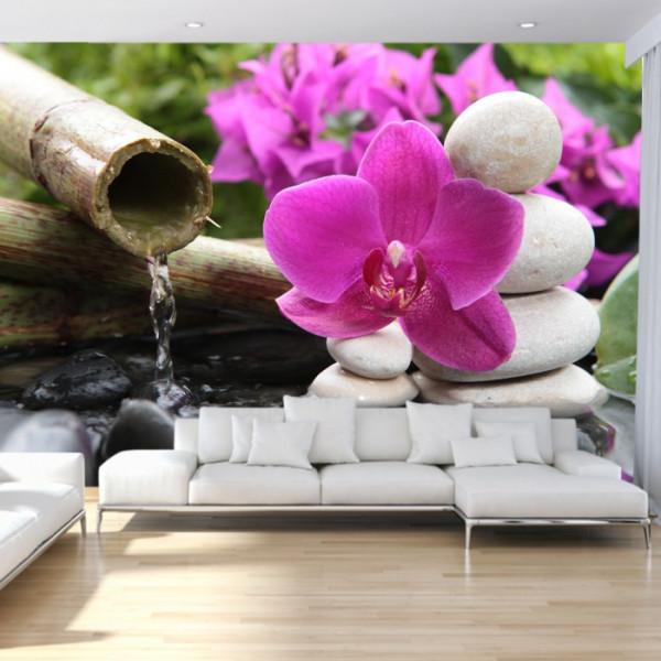 Fototapet Orhidee Zen cu Pietre Spa Albe BMOR45