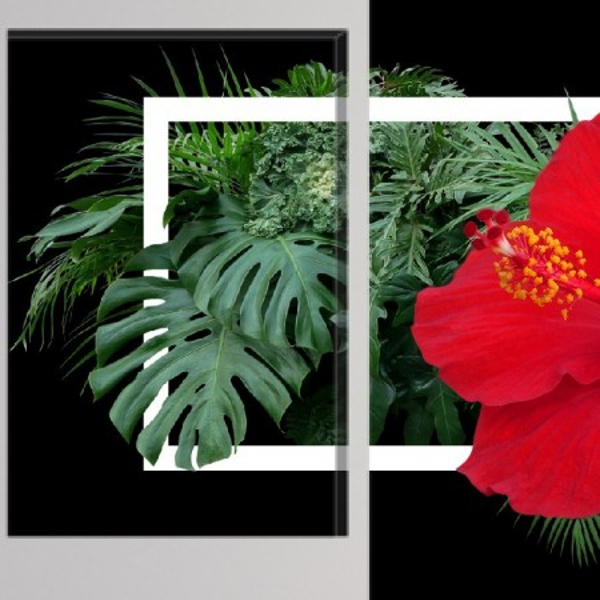 Multicanvas Flori Rosii de Hibiscus Printre Frunze Tropicale AMG004