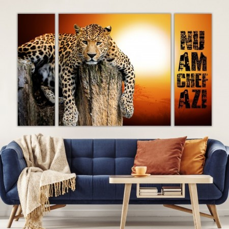 Multicanvas Set 3 Tablouri Leopard la Apus ATGR69