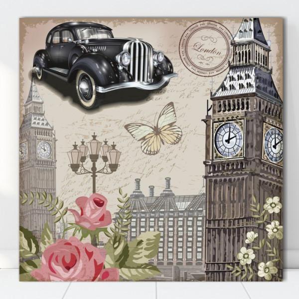 Tablou Canvas Ilustratie Vintage Masina in Londra VR20A