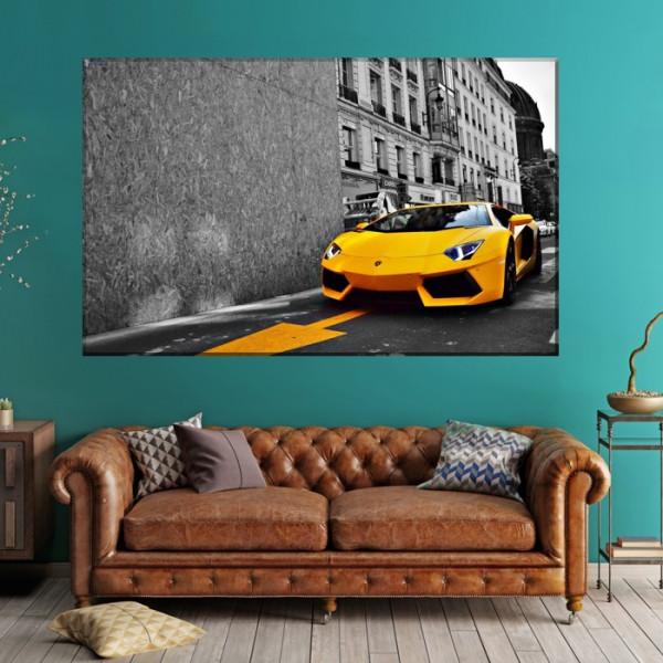 Tablou Canvas Masina de Lux Lamborgini Galbena ADC29