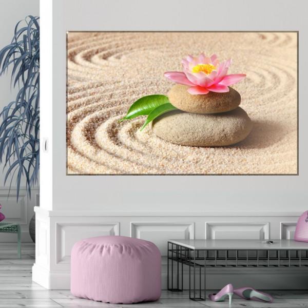 Tablou Canvas Nufar cu Pietre Spa pe Nisip MSP41