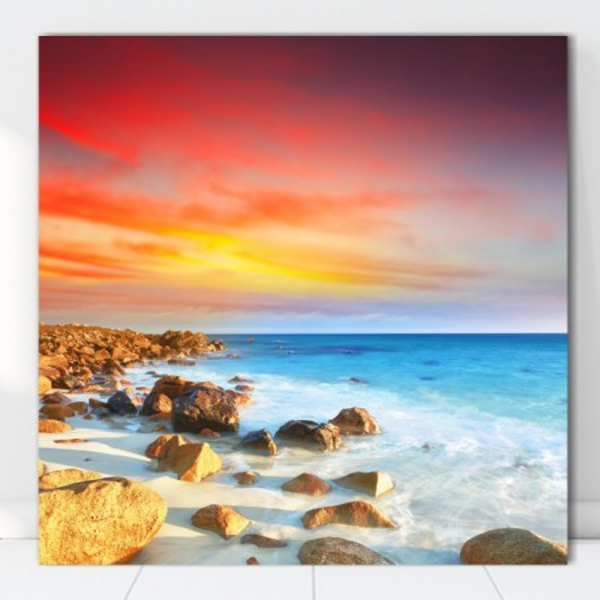 Tablou Canvas Plaja cu Valuri Printre Stanci PMO126