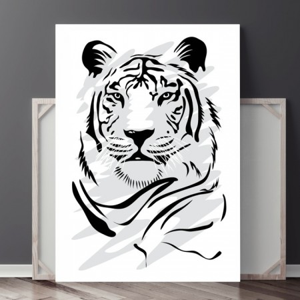 Tablou Canvas Tigru Model Tatuaj Alb-Negru ATGR103