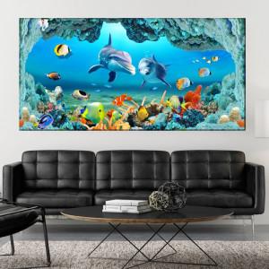 Tablou Canvas Delfini cu Pesti Exotici AQF58
