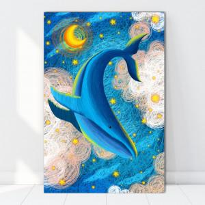 Tablou Canvas Ilustratie Dansul Balenei Noaptea FZT4