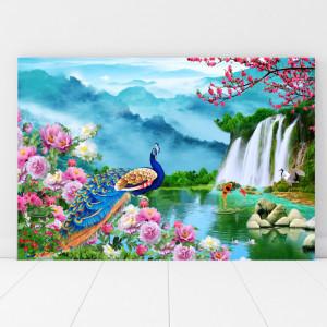 Tablou Canvas Paun cu Bujori si Cascada SEF101