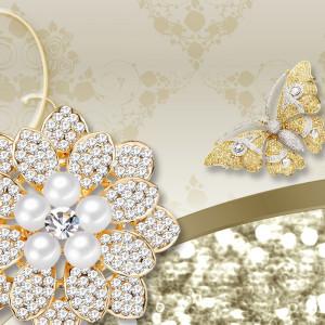 Fototapet 3D Bijuterii cu Cristale si Fluturi Aurii BES306