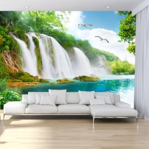 Fototapet 3D Cascada In Peisaj De Vis Cu Lebede OPO101