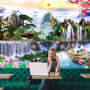 Fototapet 3D Cascade Tropicale cu Nuferi WTF94