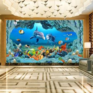 Fototapet 3D Delfini printre Pesti Colorati AQF48