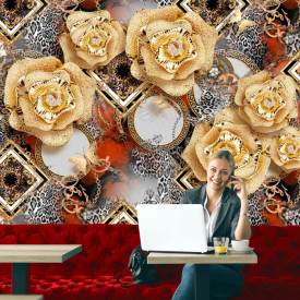 Fototapet 3D Flori Aurii cu Cristale si Fundal de Lux PFT21