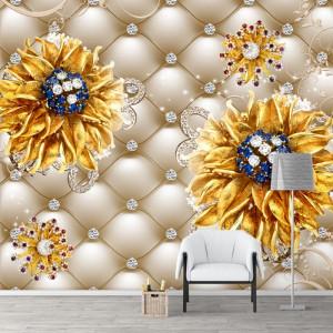 Fototapet 3D Flori cu Petale Aurii si Cristale PFT34