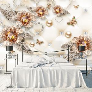 Fototapet 3D Flori si Inimioare cu Cristale BES317