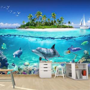 Fototapet 3D Insula cu Palmieri, Delfini si Pestisori AQF80
