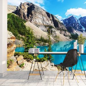 Fototapet 3D Peisaj Splendid De Munte cu Lac Cristalin TML1