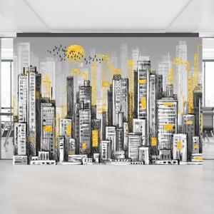 Fototapet Peisaj Urban cu Cladiri Creionate BES99