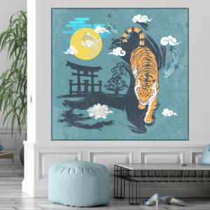Tablou Arta Japoneza Abstracta cu Tigru FGE11