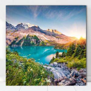Tablou Canvas Peisaj Fabulos cu Munte si Lac sub Cerul Senin TOPSN11