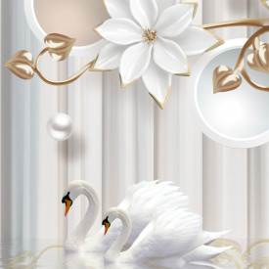 Tablou Modern Flori Albe cu Lebede PIK35