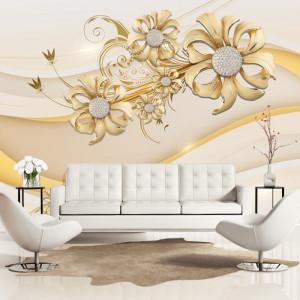 Fototapet 3D Flori Aurii cu Cristale PFT48