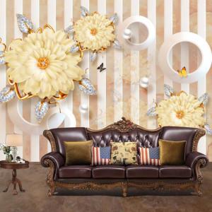Fototapet 3D Flori Mari cu Fluturi si Cristale BES36