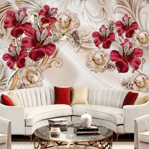 Fototapet 3D Flori Rosii si Flori Aurii cu Perle BES400
