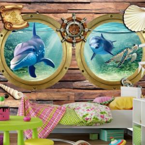 Fototapet 3D Hublouri cu Delfini si Broasca Testoasa AQF59