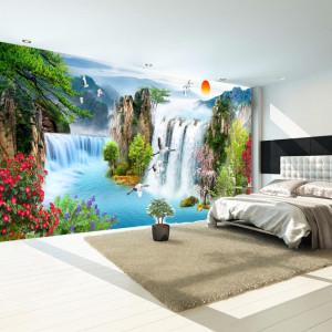 Fototapet 3D Peisaj de Vis cu Flori si Cascade WTF84F