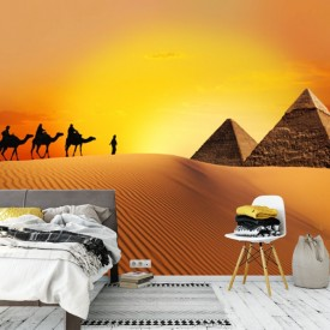 Fototapet Camile in Desert spre Piramide APS71