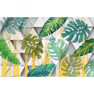 Fototapet Mix de Frunze Tropicale cu Fundal Geometric BES89
