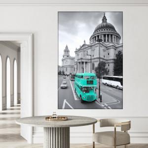 Tablou Canvas Autobuz Turcoaz in Londra, Catedrala Sf. Paul NUC2