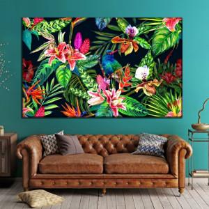 Tablou Canvas Peisaj Exotic cu Flori FRZ2