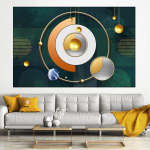 Tablou Sfere Aurii si Forme Geometrice Moderne MLL14