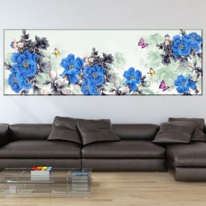 Tablou Canvas Panoramic Bujori Albastri cu Fluturi SEF89