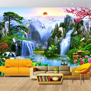 Fototapet 3D Cascade in Peisaj Tropical WTF103F