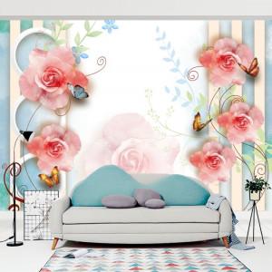 Fototapet 3D Primavara cu Trandafiri si Fluturi BES2