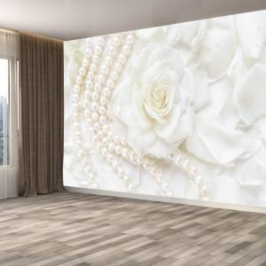 Fototapet 3D Trandafir Alb cu Sirag de Perle OPOS115