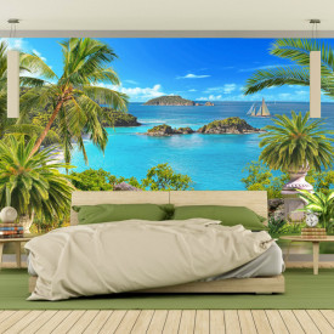 Fototapet 3D Vedere la Ocean cu Palmieri MDP15
