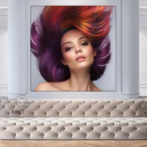 Tablou Canvas Femeie cu Par Multicolor in Miscare BGM81