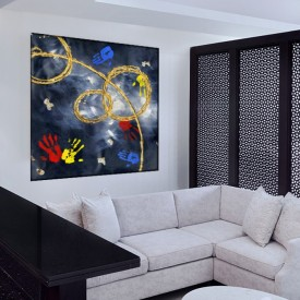 Tablou Canvas Maini Colorate in Compozitie Abstracta CTB41