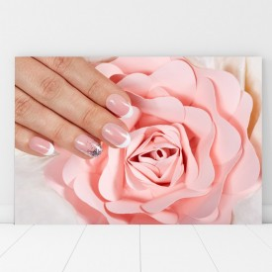 Tablou Canvas Manichiura French cu Trandafir Roz Pal BGM46