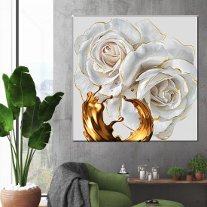Tablou Canvas Trandafiri Albi Soft Gold ROS44
