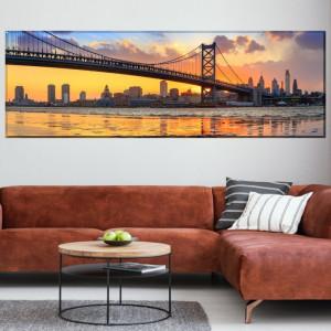 Tablou Canvas Vedere Panoramică Philadelphia, Podul Benjamin Franklin La Apus NYB10