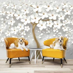 Fototapet 3D Copacul Auriu cu Flori Albe OPOS67