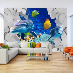Fototapet 3D Delfini si Pesti Colorati Printre Ziduri AQF60